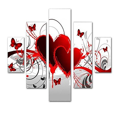 preiswerte Wand- & Ölbilder-Hang-Ölgemälde Handgemalte - Abstrakt Zeitgenössisch Modern Fügen Innenrahmen / Fünf Panele / Gestreckte Leinwand