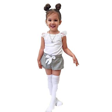 סט של בגדים כותנה אקריליק אביב קיץ שרוולים קצרים יומי חגים אחיד בנות פשוט וינטאג' לבן