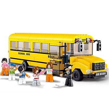 hesapli Oyuncaklar ve Oyunlar-Sluban Legolar İnşaat Seti Oyuncakları Eğitici Oyuncak 382 pcs Arabalar Otobüs uyumlu Legoing Okul Havalı Büyük Boyutlu Otobüs Genç Erkek Genç Kız Oyuncaklar Hediye
