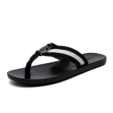 בגדי ריקוד גברים נעלי נוחות בד / PU אביב / קיץ כפכפים & כפכפים שחור ולבן / שחור / ירוק