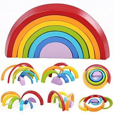 7 Colors Wooden Stacking Rainbow Shape אבני בניין 7pcs שור / משפחה אינטראקציה בין הורים לילד / מְעוּדָן מתנות