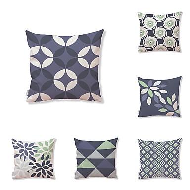 6 Pcs Textile Cotton Linen Pillow Cover Geometric Plaid Check