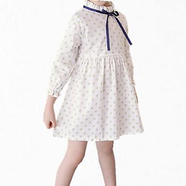 שמלה כותנה פוליאסטר אביב סתיו שרוול ארוך יומי פרחוני הילדה של פשוט חמוד לבן