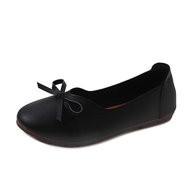 Női Cipő PU Tavasz Könnyű talpak Lapos Lapos Erősített lábujj mert Fehér Fekete Bézs Rózsaszín