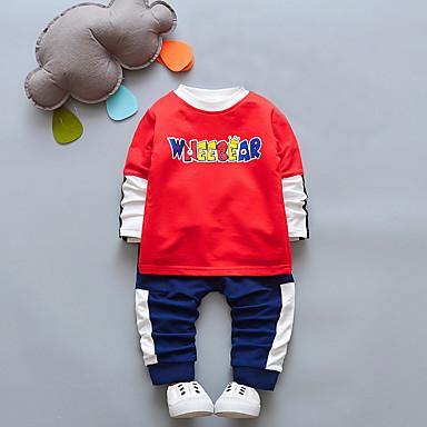 סט של בגדים כותנה שרוול ארוך דפוס אחיד / דפוס / סרוג ליציאה בסיסי בנים פעוטות / חמוד