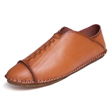 בגדי ריקוד גברים נעליים סוויד / דמוי עור / עור אביב / קיץ נוחות נעליים ללא שרוכים רכיבת אופניים / הליכה שחור / חום בהיר / חאקי
