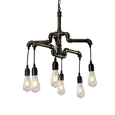 6-hode vintage industrielle rør enkelt loft jern pipe anheng lys stue spisestue kjøkken kafé hallway bar belysning