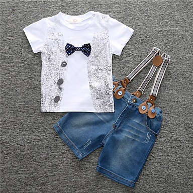 cheap Boys' Clothing-Toddler Boys' Simple / Casual Daily / Sports Print Short Sleeve Regular Regular Cotton Clothing Set White