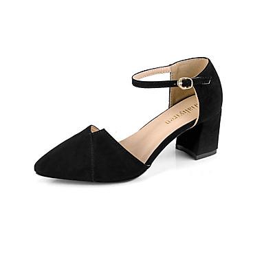בגדי ריקוד נשים נעליים PU אביב / קיץ נוחות עקבים עקב עבה בוהן מחודדת שחור / בז'