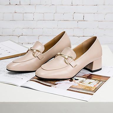 On Otoño de Zapatos Invierno taco Negro 06425352 redondo Tacón Marrón bajo PU Cuadrado Mujer Zapatos Dedo Confort Rosa Slip y EYnqgEPx
