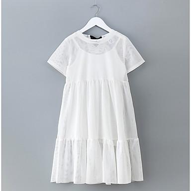 שמלה שרוולים קצרים אחיד פשוט בנות ילדים