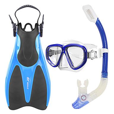 WHALE Kit para Snorkeling / Pacotes de Mergulho - Máscara de mergulho, Nadadeiras de Mergulho, Snorkel - Snorkel Seco, Pala Longa Natação, Mergulho Silicone, Vidro, Borracha  Para Adulto