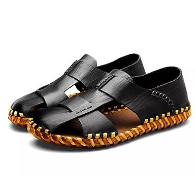 Męskie Komfortowe buty Skóra bydlęca Lato Sandały Czarny / Jasnobrązowy