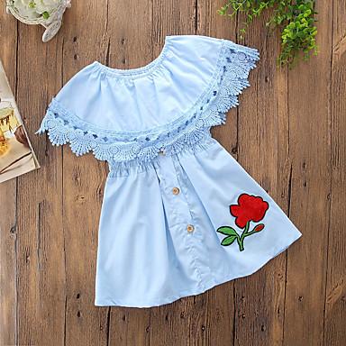 baratos Vestidos para Meninas-Bébé Para Meninas Casual Diário Para Noite Sólido Flor Frufru Fashion Sem Manga Vestido Azul / Algodão / Fofo / Cordões