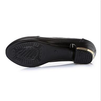 Noir Talons Confort rond Talon 06600403 Automne Cuir Chaussures à Bout Printemps Femme Chaussures Bottier wxPq7I0wF