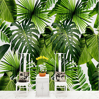 cheap Wall Art-Botanical Pattern 3D Home Decoration Vintage Modern Wall Covering, Canvas Material Adhesive required Mural, Room Wallcovering