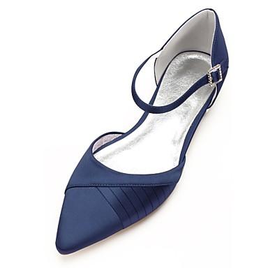 povoljno Ženske cipele-Žene Vjenčanje Cipele Ravna potpetica Krakova Toe Ukrasna trakica Saten Udobne cipele / D'Orsay cipele Proljeće / Ljeto Dark Blue / Srebro / Kristalne