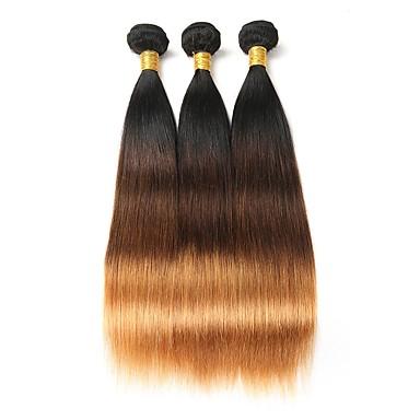 povoljno Perike i ekstenzije-3 paketa Brazilska kosa Ravan kroj Ljudska kosa Ombre 10-26 inch Ombre Isprepliće ljudske kose Proširenja ljudske kose / 8A