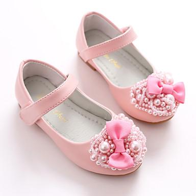 בנות נעליים דמוי עור אביב בלרינה / נעליים לילדת הפרחים שטוחות פפיון / סקוטש ל לבן / ורוד