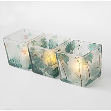 סגנון מינימליסטי / נוף זכוכית פמוטים 3pcs, מחזיק נר / נרות