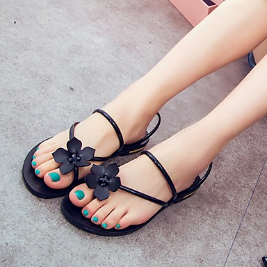 Sandalias 06600408 Tacón Confort Dorado Satén redondo Mujer Plano Dedo Verano Rojo Zapatos Negro PU de Flor qFZIf