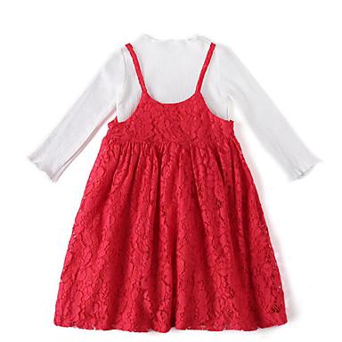 Brzdąc Dla dziewczynek Podstawowy Jendolity kolor Długi rękaw Bawełna Komplet odzieży