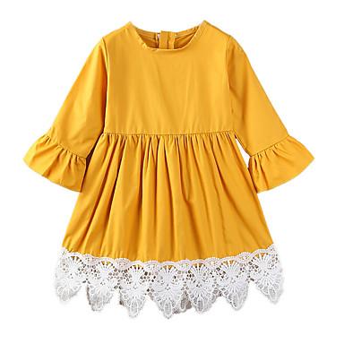 baratos Vestidos para Meninas-Bébé Para Meninas Simples Casual Diário Para Noite Sólido Retalhos Flor Frufru Fashion Vestido Amarelo / Algodão