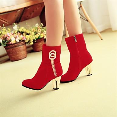 Gland Bottes Noir Bottier Mode Hiver à Bottes 06569893 Femme Strass Chaussures la Bout rond Bottes Mi Talon mollet Similicuir Rouge 0qzawS