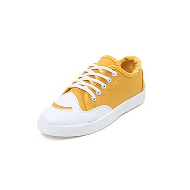 בגדי ריקוד נשים נעליים גומי אביב נוחות נעלי ספורט שטוח בוהן עגולה לבן / שחור / ורוד