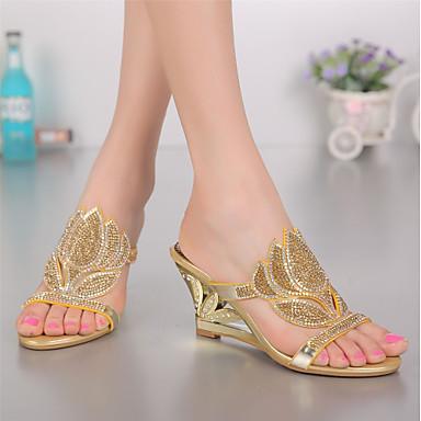 Bottes Mode Hauteur compensée ouvert Sandales 06601060 la Polyuréthane Strass Eté Bout Femme Printemps à semelle Chaussures de Cristal BIq0z0