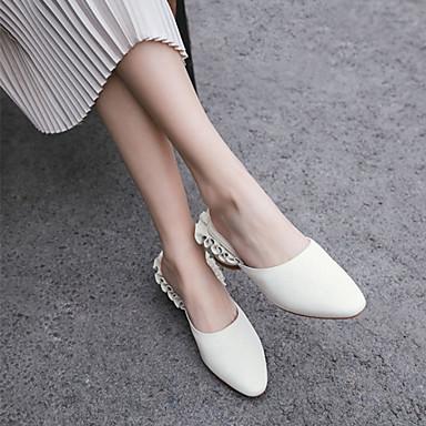 Cuir rond Bout Chaussures Confort Rose 06601304 Bleu Printemps Femme Talon Blanc Mules Sabot amp; Eté Bottier PCUwwv5q
