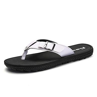 Męskie Komfortowe buty Guma Lato Klapki i japonki Biały / Czarny / brązowy