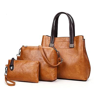 hesapli Çantalar-Kadın's Fermuar Çanta Setleri Çanta Setleri PU 3 Adet Çanta Seti Doğal Pembe / Gri / Kahverengi