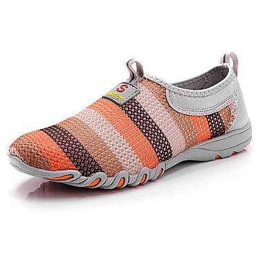 בגדי ריקוד נשים נעליים רשת נושמת אביב / קיץ נוחות נעליים ללא שרוכים שטוח בוהן עגולה אפור / סגול / פוקסיה