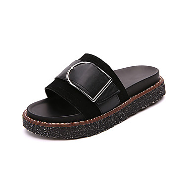 Mulheres Sapatos Couro Ecológico Courino Verão Conforto Sandálias Sem Salto Dedo Aberto Presilha para Casual Ao ar livre Branco Preto