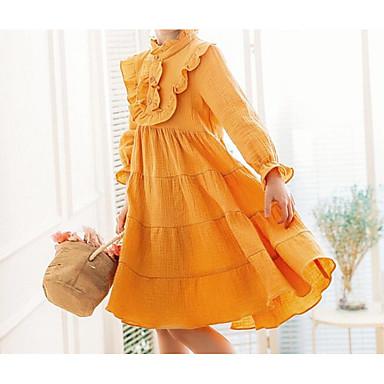 שמלה כותנה אביב קיץ שרוול ארוך יומי אחיד הילדה של חמוד יום יומי צהוב