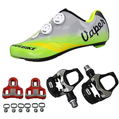 SIDEBIKE Erwachsene Fahrradschuhe mit Pedalen & Pedalplatten / Rennradschuhe Karbon Polsterung Radsport Grün Herrn
