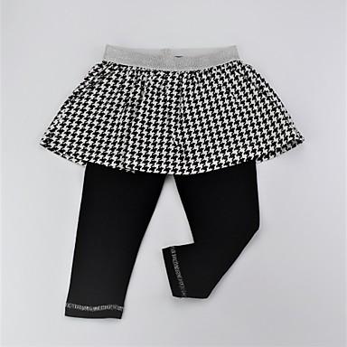 מכנסיים כותנה אביב קיץ יומי גיאומטרי קולור בלוק בנות חמוד פעיל שחור