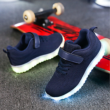 cheap Kids' Athletic shoes-Boys' / Girls' Shoes Knit / Net Spring / Fall Comfort / Light Up Shoes Walking Shoes Lace-up / Hook & Loop / LED for Gray / Blue / Pink