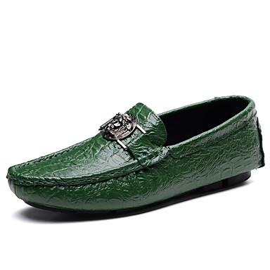 Męskie Buty Skórzany Wiosna Jesień Buty do nurkowania Mokasyny i pantofle na Casual White Black Dark Blue Brown Green