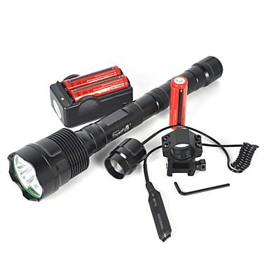 abordables Lampes & Lanternes de Camping-Lampes Torches LED LED LED Émetteurs 6000 lm 1 Mode d'Eclairage Camping / Randonnée / Spéléologie Cyclisme Noir