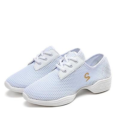 baratos Shall We® Sapatos de Dança-Mulheres Com Transparência Tênis de Dança Têni Salto Baixo Personalizável Branco / Preto