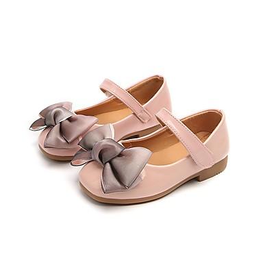 baratos Sapatos de Criança-Para Meninas Courino Rasos Little Kids (4-7 anos) Conforto / Sapatos para Daminhas de Honra Laço / Velcro Preto / Cinzento / Rosa claro Primavera / TPU - Poliuternano Termoplástico