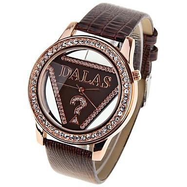 رخيصةأون ساعات النساء-JUBAOLI نسائي ساعات فاشن الماس ووتش كوارتز جلد أحمر ساعة كاجوال كوول مماثل سيدات - بني
