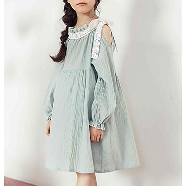 お買い得  女児 ドレス-子供 女の子 シンプル ヴィンテージ ソリッド 長袖 ポリエステル ドレス ライトブルー