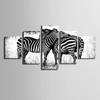 billige Trykk-Trykk Valset lerretskunst Moderne Fem Paneler Kunsttrykk