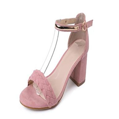 Dámské Boty PU Léto Pohodlné Sandály Chůze Block Heel Otevřený palec Přezky pro Venkovní Černá Růžová