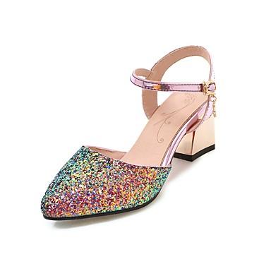 בגדי ריקוד נשים נעליים נצנצים אביב / קיץ רצועת קרסול עקבים עקב עבה בוהן מחודדת אבזם לבן / שחור / ורוד / מסיבה וערב