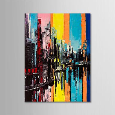ציור שמן צבוע-Hang מצויר ביד - מופשט / L ו-scape מודרני ללא מסגרת פנימית / בד מגולגל
