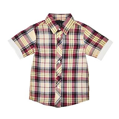 baratos Camisas para Meninos-Bébé Para Meninos Simples Casual Diário Feriado Xadrez Conferir Padrão Manga Curta Padrão Algodão Camisa Branco
